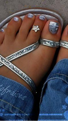 Silver nail design nails in 2019 toe nails, toe nail art, toe n Pretty Toe Nails, Cute Toe Nails, Cute Toes, Pretty Toes, Fancy Nails, Toe Nail Art, Classy Nails, Silver Nail Designs, Beautiful Nail Designs