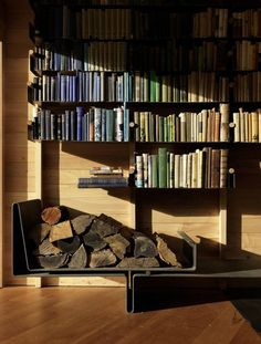 Steel Bookcase. Really beautiful. Love the steel against the wood.