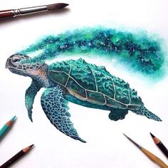 ✨✨ 'Last of its kind - Cosmic Turtle' ✨ Credit: @david_art   #justartspiration  # ✨  #cosmic #turtle #galaxy #spaceart #endangered