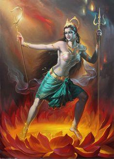 The Hindu goddess Tara is the summoner of beings and she dispels misfortune. Indian Goddess, Kali Goddess, Divine Mother, Shiva Shakti, Durga Kali, Hindu Deities, Hindu Art, The Hindu, God Pictures