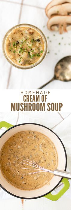 Homemade cream of mushroom soup is so much healthier than store-bought and it's really easy to make. It's ready in just a few minutes using only real food! :: DontWastetheCrumbs.com