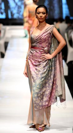 A model showcases a design on the runway by Tarun Tahiliani as part of Indonesia - India Fashion Night on day one of Jakarta Fashion Week 2009 at the Fashion Tent, Pacific Place on November 14, 2009 in Jakarta, Indonesia.