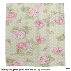 Shabby chic green polka dots and pink roses shower curtain Print Wallpaper, Fabric Wallpaper, Flower Wallpaper, Wallpaper Backgrounds, Wallpapers, Decoupage Vintage, Vintage Paper, Vintage Floral, Shabby Chic Green