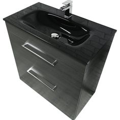 Black Ash 600mm 2 Drawer Basin Unit With Black Glass Top. - UK Bathroom Solutions