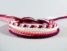 Four Handmade Friendship Bracelets - Pink, Plum, and White Thin Bracelet Set on Etsy