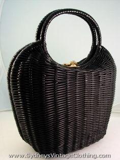 60's bucket purse   Vintage 60's Hong Kong Black Wicker Large Purse Handbag