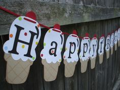 Happy Birthday-ice cream party banner. Fun idea for a party or ice cream social. (Make with paper punches or paper cutter machines)