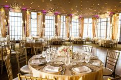 Gold wedding reception by Stacey & Company.