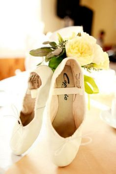 Would you wear ballet slippers to your wedding? This bride did. See tons of garden wedding on a budget inspiration.
