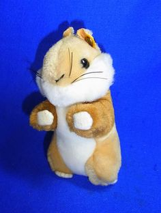 Original Modern Stuffed Animal Steiff Toy Hamster with Button #^C44