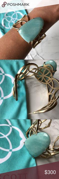 Vintage, Hard to Find Kendra Scott Cuff Vintage, Hard to Find Kendra Scott Cuff with gorgeous mint green, teal stone. Kendra Scott Jewelry Bracelets