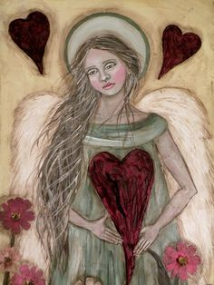 """This angel artwork is a PRINT of one of my original paintings titled """"Hearts and Flowers"""", printed on Professional Ultra Premium Kodak photo paper - ready to fit in a standard x frame. (frame not included) Thank you so much for stopping by to take a look! Kodak Photos, Angel Artwork, I Believe In Angels, Angel Heart, Angels Among Us, Guardian Angels, Heart Art, Whimsical Art, Celestial"""