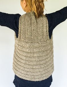 Moto Vest Back - Knit from RADIUS yarn Windrush Bulky http://shop.knitterly.net/collections/local-pastures/products/local-pastures-bulky?variant=962295364