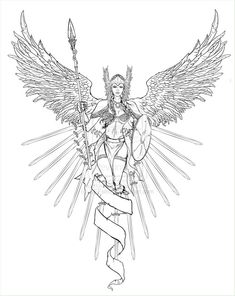 Valkyrie_lineart_by_DEEstroy.jpg (797×1002) Fantasy Myth Mythical Legend Wings  Coloring pages colouring adult detailed advanced printable Kleuren voor volwassenen coloriage pour adulte anti-stress