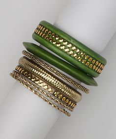 Take a look at this Green & Gold Bollywood Bracelet Set on zulily today!