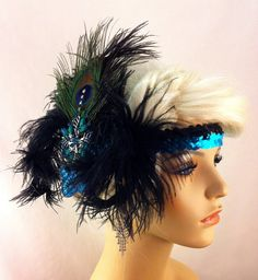 Black and Turquoise Flapper Headband1920s Head by IceGreenEyes,