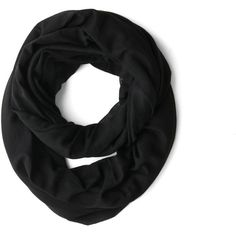 Come Full Circle Scarf in Coal ($20) ❤ liked on Polyvore featuring accessories, scarves, black, cotton infinity scarves, infinity loop scarves, sheer shawl, loop scarf and round scarves