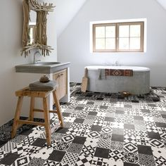 Baroque Amadora Vinyl Flooring.  So much cheaper than tiling your floor like this. Available from Affordable Flooring, Edinburgh - http://www.floorcovering-edinburgh.com/vinyl-flooring/