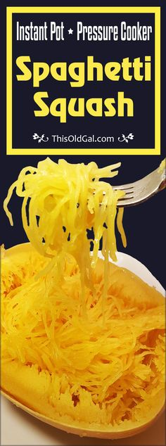Instant Pot Pressure Cooker Spaghetti Squash is a great way to cut carbs and still enjoy all your favorite noodle dishes. No need to cut it before cooking. via @thisoldgalcooks