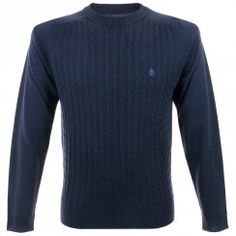 Original Penguin Cable Knit Dark Saphire Jumper OPGF4467 £90