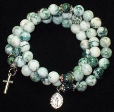 5 Decade Rosary bracelet made with Tree Agate beads & memory wire, Five decade Rosary bracelet -25 via Etsy