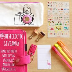 I'm finally launching my Instagram giveaway! To celebrate my blog being three years old I'm giving away this @websterspages planner and everything else in the photo. Just follow me, repost this photo and use the tag #seblogis3 before the 2nd March for your chance to win. #win #giveaway #prize #selfie #pencilcase #pens #kawaii #stickers #flamingo #notecard #paperclips #rosegold #paperchase #planner #filofax #sheseclectic