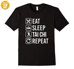 Tai Chi - Eat Sleep Repeat T-Shirt Herren, Größe 2XL Schwarz (*Partner-Link)