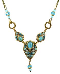 """""""Atlantis"""" Gold Plated Geometric 3 Teardrop Beaded Necklace on Brass Double Chain"""
