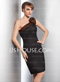 Cocktail Dresses - - Sheath One-Shoulder Knee-Length Satin Cocktail Dress With Beading (016014754) http://jjshouse.com/Sheath-One-Shoulder-Knee-Length-Satin-Cocktail-Dress-With-Beading-016014754-g14754