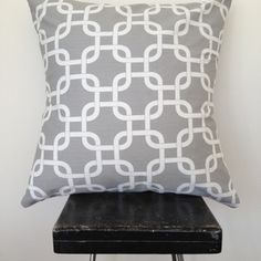 Grey Chain link cushion cover by Black Eyed Susie