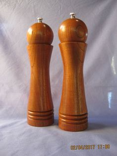 Unique Shape Handcrafted pair of Salt & Pepper Mills Grinders, made from Red Cedar, Salt And Pepper Mills, Salt And Pepper Grinders, Pen Turning, Wood Turning, Woodturning Ideas, Wood Work, Spice, Stuffed Peppers, Shapes