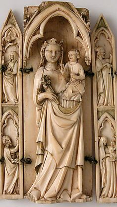 French Tabernacle or Folding Shrine, 14th century, Ivory.