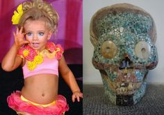 Congruence, 2014, digital print on glossy paper, 29,7 x 21 cm.  Picture on left is from a US living doll's beauty pageant.  Picture on the right is a deformed skull covered with mexico turquoise. For sale at http://the-museum-of-curios.co.uk/