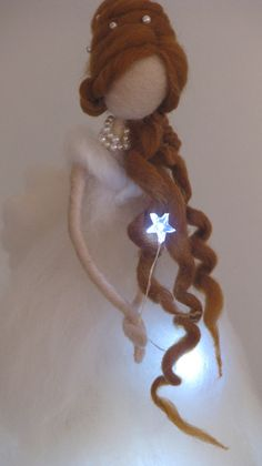 Christmas angel Fair Needle felted with Lights by Made4uByMagic