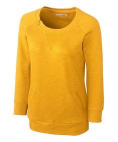 College Gold Offside Three-Quarter Sleeve Top - Women #zulily #zulilyfinds