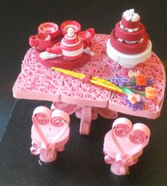 Quilling: Table, Tea set, flowers and cake by staceysmile on DeviantArt Quilling Patterns, Quilling Designs, Quilling Ideas, Quilling Cake, Paper Quilling, Crafts To Make, Diy Crafts, Paper Art, Paper Crafts