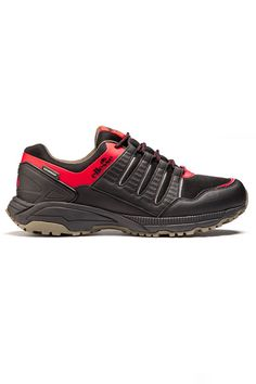 men's ellesse Aria trail shoe in black/red/khaki 05