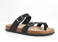 Outwoods Bork Double Buckle Sandals for Women in Black 21321-101-BLK