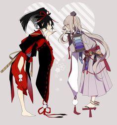 Touken Ranbu Kogarasumaru and Imanotsurugi Touken Ranbu, Manga Art, Manga Anime, Anime Art, Female Characters, Anime Characters, Another Anime, Boy Pictures, Manga Games
