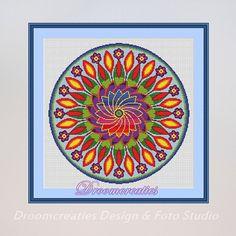 X-stitch pattern mandala Flower Power - digital crossstitch embroidery pattern pdf - 189 x 189 cross stitches - 35 x 35 cm - 13.5 x 13.5 inches