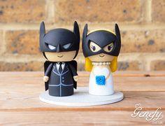 Batman groom and Batgirl bride wedding cake topper  https://www.facebook.com/genefyplayground