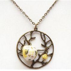 Antiqued Brass Tree Flower Porcelain Owl Necklace