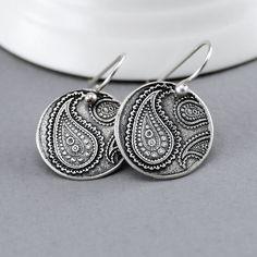 Silver Bohemian Paisley Dangle Earrings by SolsticaJewelry on Etsy http://www.SolsticaJewelry.etsy.com