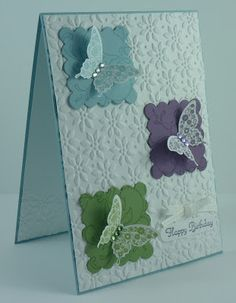 Corporated: Still addINKtive - Card - Sweet Butterflies - Baka breeze, wild wasabi, perfect plum,papillon potpourri Making Greeting Cards, Greeting Cards Handmade, Handmade Birthday Cards, Happy Birthday Cards, Paper Cards, Diy Cards, Tarjetas Stampin Up, Embossed Cards, Butterfly Cards