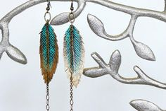 Feather Earrings - Handmade, Faux Leather