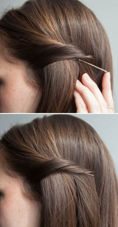 Secretly Pin Back Strands With Bobby Pins. Bobby pins are one of the few beauty tools with endless uses. Here is a simple technique to secretly pin back your strands using bobby pins. Twist your hair andinsert a bobby pin with the open end pointing toward Medium Hair Styles, Curly Hair Styles, Easy Hair Styles Long, Bobby Pin Hairstyles, Trendy Hairstyles, Wedding Hairstyles, Hairstyles 2018, Bridal Hairstyle, School Hairstyles