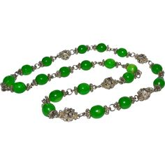 Emerald Green Peking Glass Bead Necklace