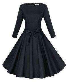 Pure Color Round Neckline Dress - Dresses