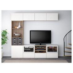 IKEA   BESTÅ TV Storage Combination/glass Doors Walnut Effect Light