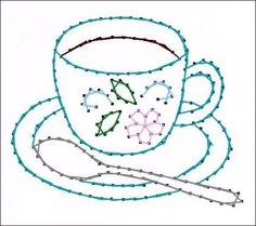 Floral Coffee or Tea Cup All Occasion Paper Embroidery Pattern for Greeting Cards.